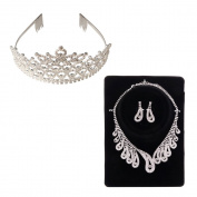Yoshioe Wedding Bridal Rhinestone Crown Headband + Peacock Shaped Rhinestoned Necklace & Earrings Set