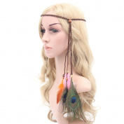 Polytree Boho Feather Headband Weave Tassel Hairband for Women Girls