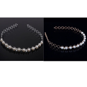 Eforstore 2Pcs Trendy Sweet Pearl Headband Hairband Diamante Hairhoop Hair Clasp