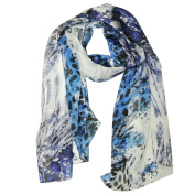 Wrapables® Luxurious 100% Charmeuse Silk Long Scarf, Tropical Blue