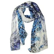 Wrapables® Luxurious 100% Charmeuse Silk Long Scarf, Tropical Blue