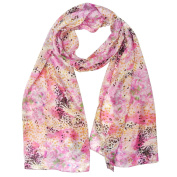 Wrapables® Luxurious 100% Charmeuse Silk Long Scarf, Leopard Floral