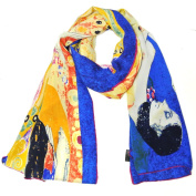 Wrapables® Luxurious 100% Charmeuse Silk Long Scarf with Hand Rolled Edges, Gustav Klimt's Hope II