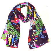 Wrapables® Luxurious 100% Charmeuse Silk Long Scarf with Hand Rolled Edges, Girls at Play