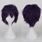 Coolsky Long Wig Black Purple Wig Halloween Cosplay Party Costume Wig for Women