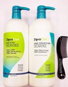 DevaCurl One Condition No-Poo Decadence 950ml DUO, Plus Shower Comb Bundle