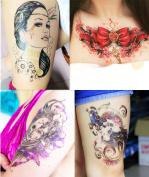 Dalin 4 Sheets Fashion Temporary Tattoos, Peacock, Bow, Skull, Sexy Lady
