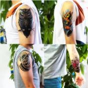 Dalin 4 Sheets Fashion Temporary Tattoos, Lotus, Owl, Skull