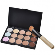 Pro 15 Colours Contour Face Cream Makeup Concealer Palette + Oblique Head Brush