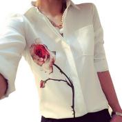 Orangesky Women Long Sleeve Rose Flower Blouse Turn Down Collar Chiffon Shirts