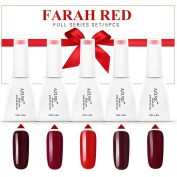 Azure 5pcs Colourful Farah Red Series Vanish Nail Gel Polish Soak Off UV LED Salon Beauty Manicure Art DIY Gift