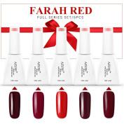 Azure 5pcs Colourful Farah Red Series Vanish Nail Gel Polish Soak Off UV LED Salon Beauty Manicure Art DIY Gift