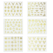 Novpeak 6 Sheets 3D Nail Art Stickers Decals Glitters Gold Decoration Tips Manicure DIY