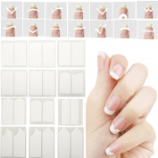 eshion 1Set French Stencil Nail Art Form Fringe Guides Manicure Stickers Tips Tape