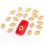 Kaifina 10PCS Gold Nail Art Jewellery Vintage Pattern Aryclic Nail Tips Decorations Nail Art Glitters for Nails