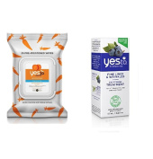 Yes To Carrots Fragrance-Free Gentle Cleansing Wipes, 25 Count + Yes To Blueberries Fine Lines & Wrinkles Eye Firming Treatment, 15ml