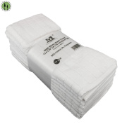 10 PC White Wash Towels 33cm x 80cm Washable 600D Cotton Polyester