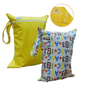 Babyfriend Wet/Dry Nappy Bag, 2 Large Zipper Pockets with Snap Handle, Washable & Waterproof! 2 Pieces