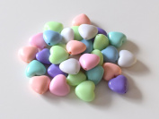 Shops colourful cream-coloured heart-shaped beads of usausa (large) 30 pieces