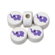 ANIMALS CERAMIC BEADS ELEPHANT 14mm DISC WHITE BASE LIGHT PURPLE DETAIL 25pc