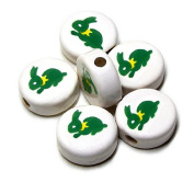 ANIMALS CERAMIC BEADS RABBIT BUNNY 21mm DISC WHITE BASE GREEN with YELLOW RIBBON DETAILS 20pc