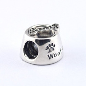 925 Sterling Silve Dog Bowl Silver Charm with Cubic Zirconia Charm Bead Fit European Charms Bracelet