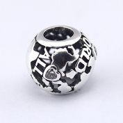 925 Sterling Silve All Around The World Openwork Silver Charm with Cubic Zirconia Charms Bracelet