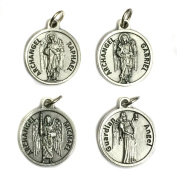 Set of 4 Archangel Michael Gabriel Raphael Guardian Angel Protection Medal Pendant Charm with Prayer Made in Italy Silver Tone 1.9cm