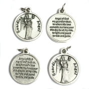 Lot of 4 Guardian Angel Protect Protection Medal Pendant Charm with Prayer Made in Italy Silver Tone 1.9cm