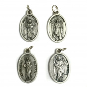 Set of 4 Archangel Michael Gabriel Raphael Uriel Protection Medal Pendant Charm Pray for US Prayer Made in Italy Silver Tone 1.9cm