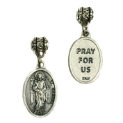 Archangel Gabriel Protect Protection Medal Pendant Charm Pray for Us Prayer Made in Italy Silver Tone Catholic 1.9cm