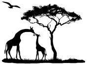 Giraffe Mama Feeding Baby Tree Eagle (1 pc) 7.6cm - 1.9cm - Black 16CC648 Fused Glass Decal