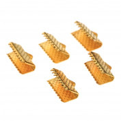 Dophee 100Pcs Ribbon Clamps Crimp Ends Beads Clasps Hook Tips Connectors DIY Craft Kit - Gold - 16mm