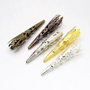 Pandahall 10sets 5-Petal Iron Mixed Colour Bead Cones Filigree Beads Caps 41x8mm DIY Crafting Earring Jewellery Makings