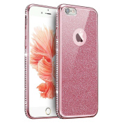 IKASEFU Glitter Rubber Case for iPhone 5SE/5S/5,Luxury Rhinestone Diamond Frame Bling Glitter Soft Rubber Case Cover for iPhone 5SE/5S/5 -Pink