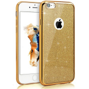 IKASEFU Glitter Tpu Case for iPhone 6 Plus/6S Plus,Bling Soft Gel Thin Rubber Gel Bumper Shell Case Cover for iPhone 6 Plus/6S Plus 14cm -Gold