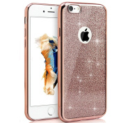 IKASEFU Glitter Tpu Case for iPhone 6/6S,Bling Soft Gel Thin Rubber Gel Bumper Shell Case Cover for iPhone 6/6S 12cm -Rose Gold