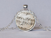 SING NECKLACE Sing Pendant Singer Gift Sepia and White Musician Gift Singer Necklace Music Lover Gift Musician Jewellery Music Teacher Gift