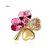 Lucky Four Leaf Clover Flower Rhinestone Brooch-Scarf Pin-Best Jewellery Gift For Mother Day-Free Packing Box