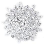 Rhinestone Flower Bridal Wedding Bouquet Brooch Pin Silver