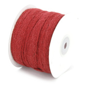 1cm X 25 Yard Braided Burlap Ribbon Trim - Great for Scrapbooking, Crafts, Gift Wrap - Red
