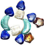Decorative Heart Moon Stars Shaped Glass coloured stones Gemstones