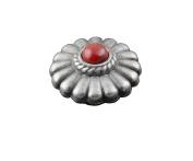 Biker Rock Western Vintage Red Onyx Metal Round Concho Button Screw Back #9