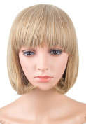 LOUISE MAELYS Women Short Hair Wig Cosplay Full Wig Blonde with Free Wig Cap