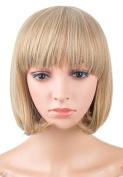 LOUISE MAELYS Women Short Hair Wig Cosplay Full Wig Blonde with Free Wig Cap