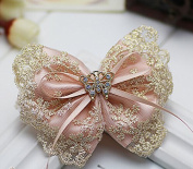 Cfalaicos Hair Accessories Korean Women Pink Bow Hair Clip Lace Ponytail Holder