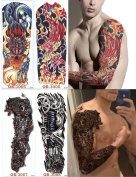 DaLin 4 Sheets Extra Large Temporary Tattoos, Full Arm