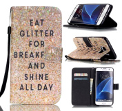 Tikeda-Galaxy S7/S7 Edge Beauty Leather Wallet Case Cover & Credit Card Holders For Samsung Galaxy S7/Galaxy S7 Edge With Hand Strap-2016 New (USPS Fast Shipping)