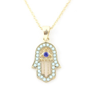 Bright Gold Tone Short Chain Buddha Hand Pendant Necklace