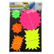 Neon Assorted Stars & Flashes Dayglow Flashcards - Pack of 50 - Mixed Colours